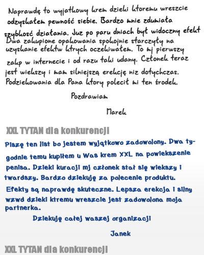 Opinie o kremie XXL TYTAN